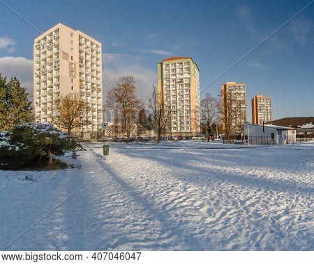 Chomutov, Czech Republic - January 17, 2021: Bezrucova Street In Sunny Winter
