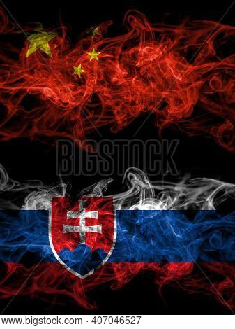 China, Chinese Vs Slovakia, Slovakian Smoky Mystic Flags Placed Side By Side. Thick Colored Silky Ab