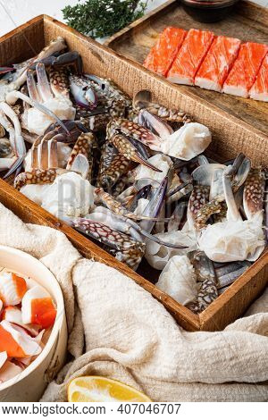 Fresh Blue Swimming Crab Horse Crab, Blue Crab, Flower Crab Claws Set, On White Background