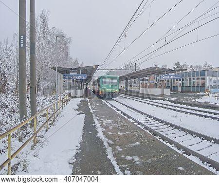 Chomutov, Czech Republic - January 24, 2021: Snow On Train Station
