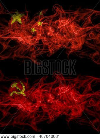 China, Chinese Vs Ussr, Soviet, Russia, Russian, Communism Smoky Mystic Flags Placed Side By Side. T