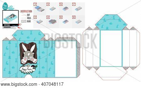 Casket Box Template For Easter. Rabbit Climbs Into The Hollow Of A Tree