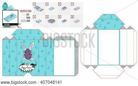 Casket Box Template For Easter. Rabbit Hiding Behind An Ostrich Egg. Vector Doodle