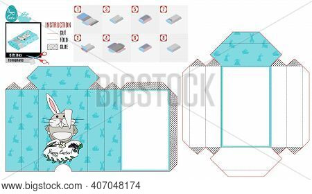 Casket Box Template For Easter. Angry Rabbit Angry. Vector Doodle