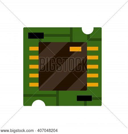 Chip. Computer Accessories. Green Microchip. The Microprocessor And Microcircuit Icon. Modern Techno