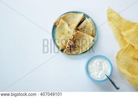 Maslenitsa Festive Lunch. Russian Pancakes Maslenitsa Week. With Fresh Cream Cheese.country Style .