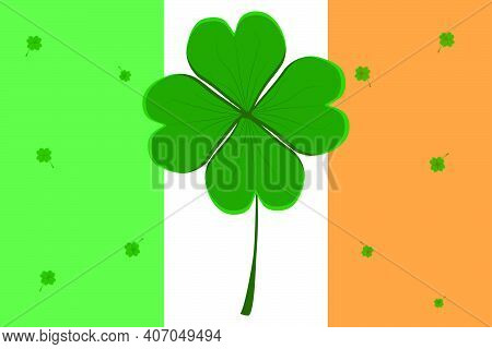 Irish Flag On Holiday St Patrick Day With Green Shamrock Clover. Pattern St Patrick Day Consisting O