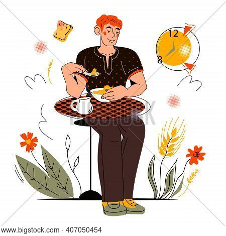 Young Man Eating Healthy Cereals Breakfast Sitting At Table, Cartoon Vector Illustration Isolated On
