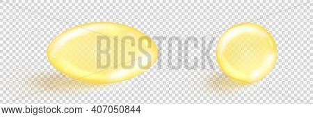 Oval, Round Golden Fish Oil Capsules Isolated On Transparent Background. Realistic Gold Collagen Gel