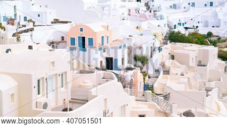 Oia,  view of Oia town, Santorini island, Greece