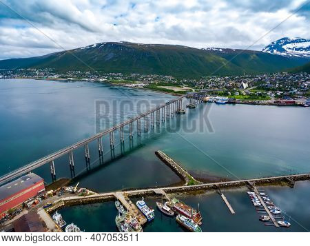 Bridge of city Tromso, Norway aerial photography. Tromso is considered the northernmost city in the world with a population above 50,000.