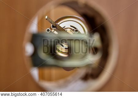 Hole For Door Knob And Latch Mechanism With Lock During Assembly.
