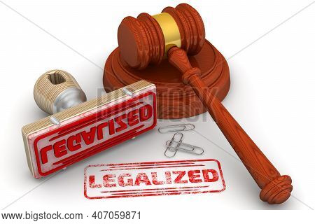 Legalized Verdict. The Stamp And An Imprint. Wooden Stamp And Red Imprint Legalized With Judge's Ham