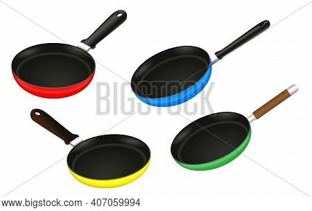 Set Of Frying Pan Kitchen Utensil Or Aluminium Flat Frying Pan Or Realistic Stainless Steel Flat Coo