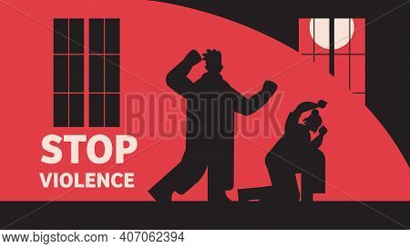 Silhouette Of Angry Man Punching And Hitting Woman Stop Domestic Violence And Aggression Against Wom