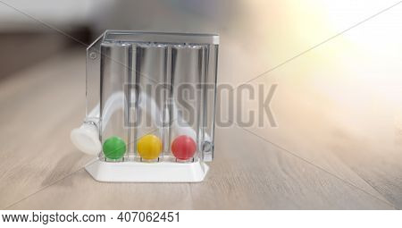 The Tri-ball Incentive Spirometry Is Medical Equipment For Elderly Or Patient With Post Operation. F