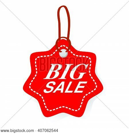 Simple Vector Red Star Rounded Corner Tag With Big Sale Text, White Dash Outline, Soft Shadow