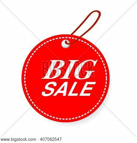 Simple Vector Red Circle Tag With Big Sale Text, White Dash Outline, Soft Shadow