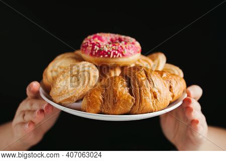 Weight Loss, Diet, Unhealthy Eating, Overeating. Hands Holding Plate With Unhealthy Sugary Sweets, C