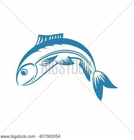Blue Fish Vector Line Illustration Isolated On White Background. Fishing Sport Or Fish Store Logotyp