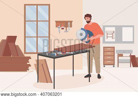 Carpenter Worker Doing Woodwork On Furniture Workshop Vector Flat Illustration. Man Holding Circular