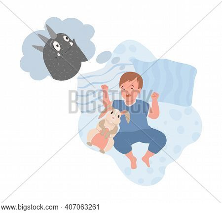 Little Boy In Cute Blue Clothes Sleeping At Night And Has A Nightmare With Creepy Black Monster Vect
