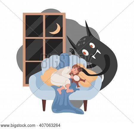 Little Boy Sleeping On Sofa, Scary Black Night Monster Ready To Attack Boy Vector Flat Illustration.