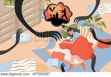Young Woman Sleeping In Bedroom Vector Flat Illustration. Girl Lying In Bed And Having A Nightmare W