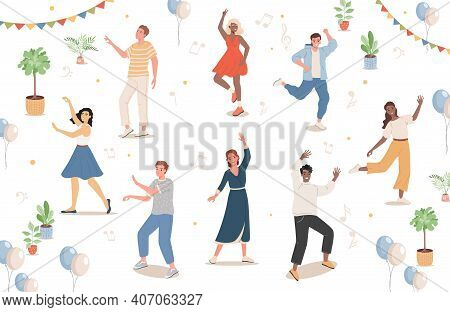Group Of People At Festival Or Dance Party Vector Flat Illustration. Men And Women In Casual Clothes