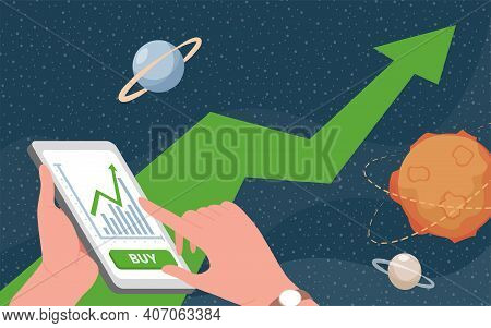Hands Holding Smartphone With Trading Application Vector Flat Illustration. Space Background With Pl