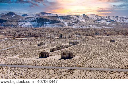 Aerial Drone View Of Fort Churchill, Usa, Ruins Of A United States Army Fort And A Way Station On Th