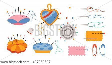Sewing Needle Bed Cartoon Set Needles Pin Vector