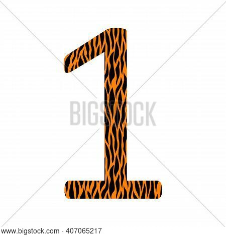 Decorative Black And Oranje Number 1 With Animal Ornament. Tiger Skin. Textured Curved Lines Effect.