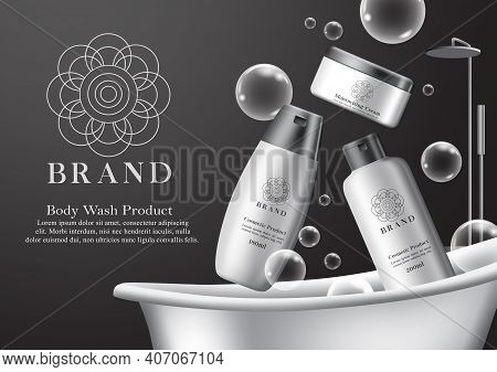Cosmetics Body Wash Product Vector Banner Template. Cosmetic Bath Products Mock Up Bottles In Black