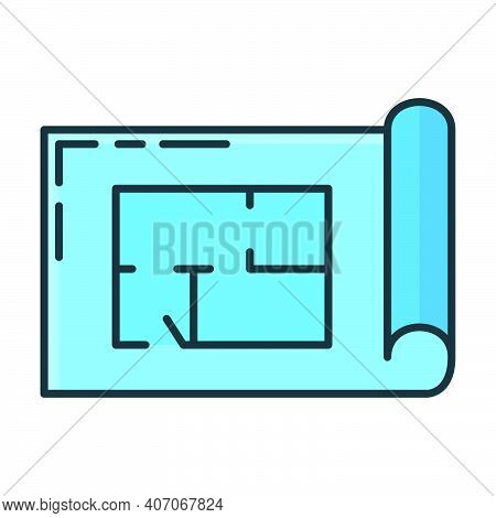 Blueprint Construction Building House Icon, Concept Engineering Drawing Plan Flat Line Vector Illust