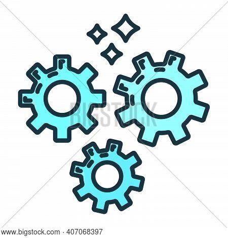 Gear Pinion Mechanism Icon, Concept Engineering Stuff Object Line Flat Vector Illustration Art, Isol