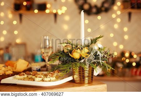 Candlelight Dinner Table Setup For Couple With Beautiful Light As Background. Enjoying A Romantic Ca