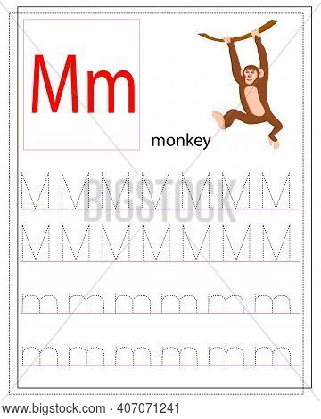 A Worksheet For Children With The Letter M To Learn The English Alphabet. Handwriting Training. Deve