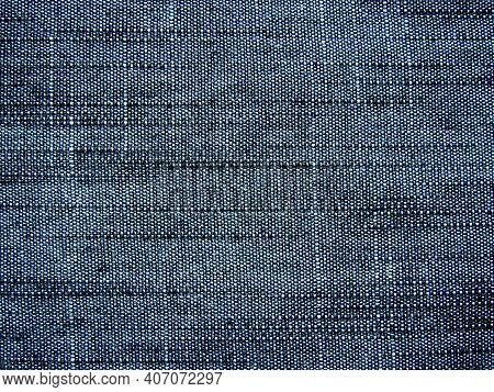 Dark Blue Denim Jeans Fabric Texture Background. Detail Of Old Black Jeans Denim Texture Background.