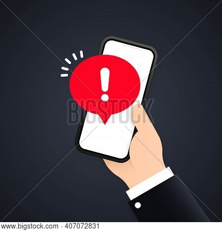 Mobile Phone Screen With A Warning About Spam, Secure Connection, Fraud, Virus. Phone Alarm Notice A