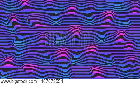 Cyberpunk Illustration Pulsating Bright Horizontal Curves, Pop Art Bright Trend Blue-pink Gradient B