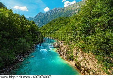 Fantastic Rafting And Kayaking Place In Europe. Majestic Recreation Place And Kayaking Destination.