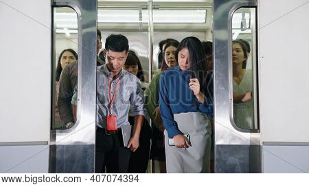 Crowd Of People On A Busy Crowded Public Subway Train Travel . Commuting And Urban Lifestyle Concept
