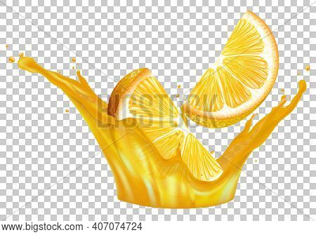 Orange Juice. Fresh Fruit And Splashes. Orange In A Splash Of Juice On A Transparent Background. Sli