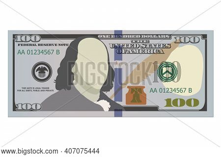 One Hundred Dollar Bill, New Design. 100 Us Dollars Banknote, Front Side. Vector Illustration Of Usd