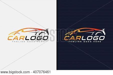 Modern Car Logo Design. Modern Colorful Silhouette Car Usable For Automotive, Business, And Services