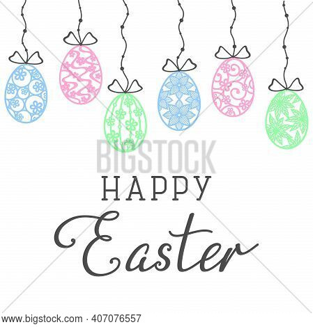 Colorful Openwork Easter Eggs Hanging On A String With Beads, Isolated On A White Background. Happy