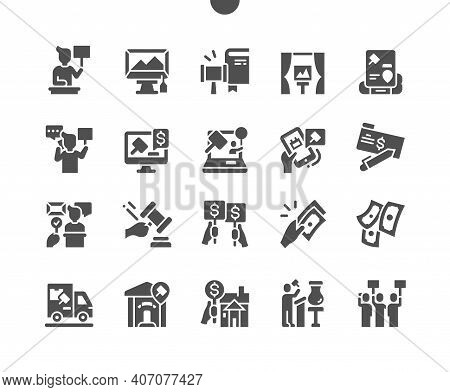 Auction. Finance And Investment. Auctioneer, Museum, Bidding And Stage. Holding An Auction. Vector S