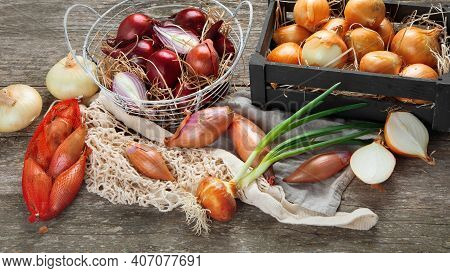 Variety Of Whole And Sliced Fresh ,raw Onions On Wooden Background.