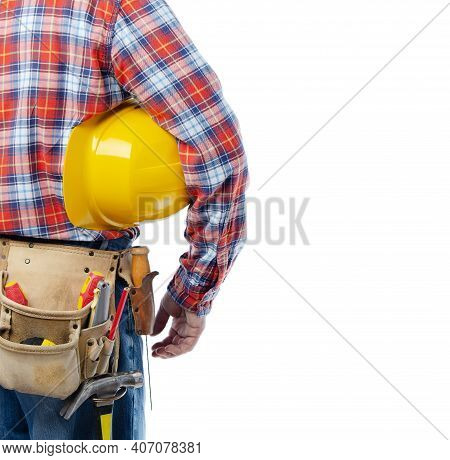 Middle Aged Caucasian Contractor With Tool Belt Holds Yellow Hard Hat Under His Hand On White Backgr